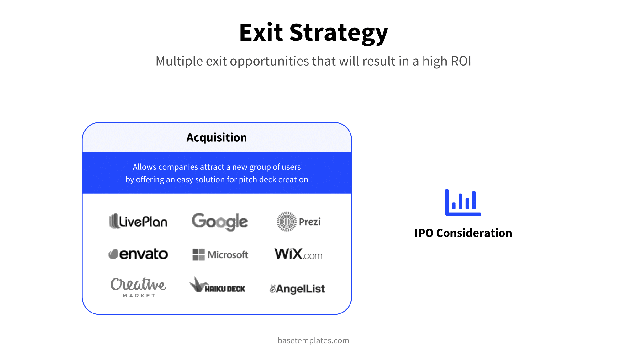Clean design exit strategy slide with nince companies that are likely to buy your company