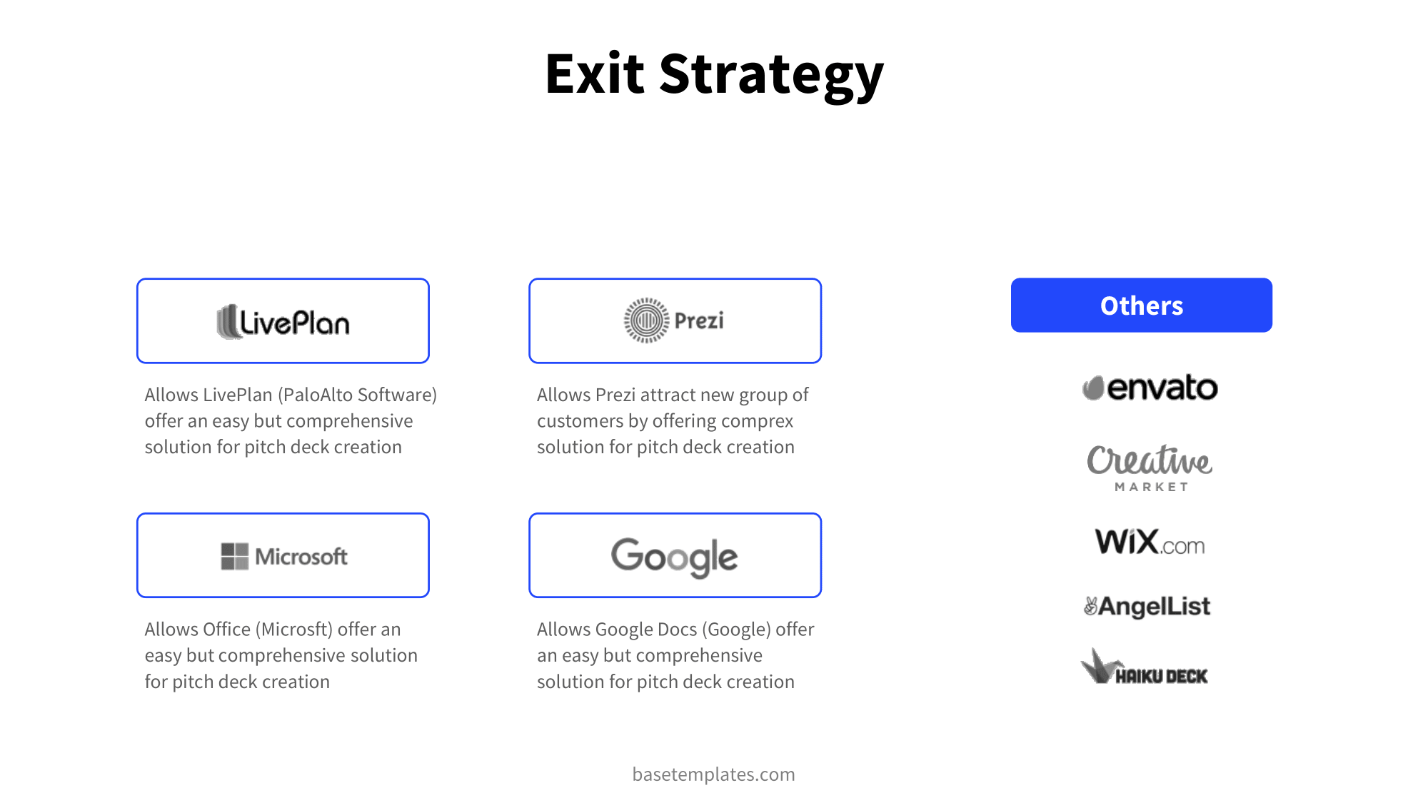 Exit strategy slide in blue and clean design