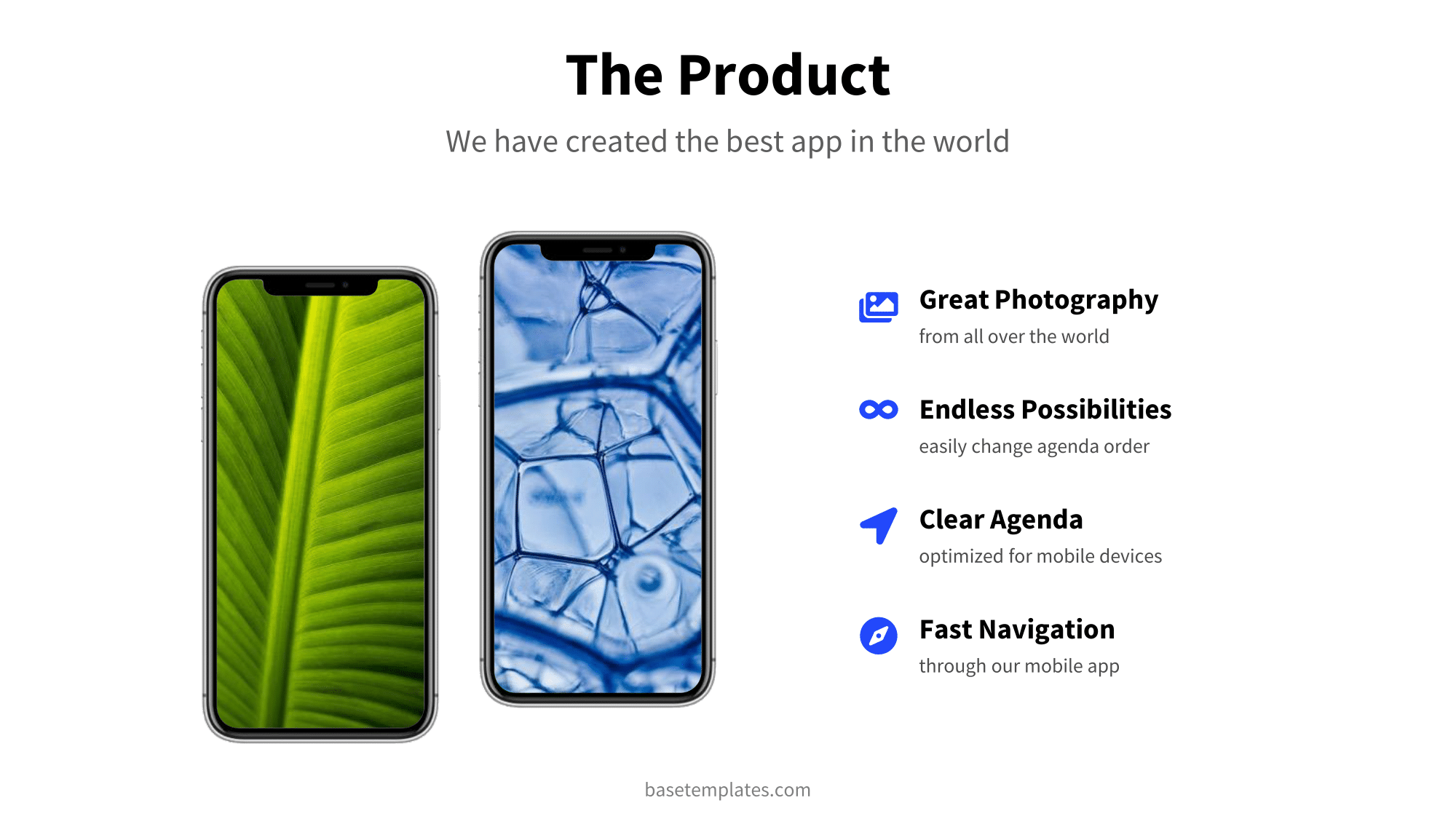 Product Slide with mockups and clean design
