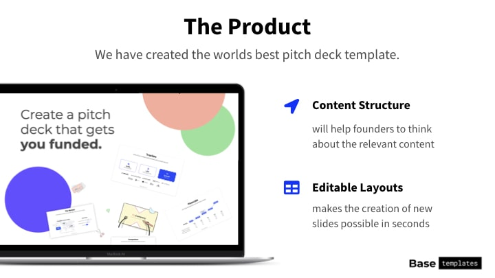Product slide example colorful version from BaseTemplates