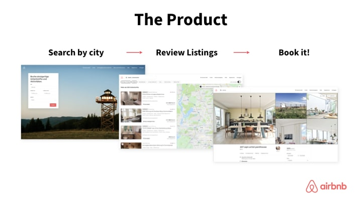 AirBnB product slide example simple design