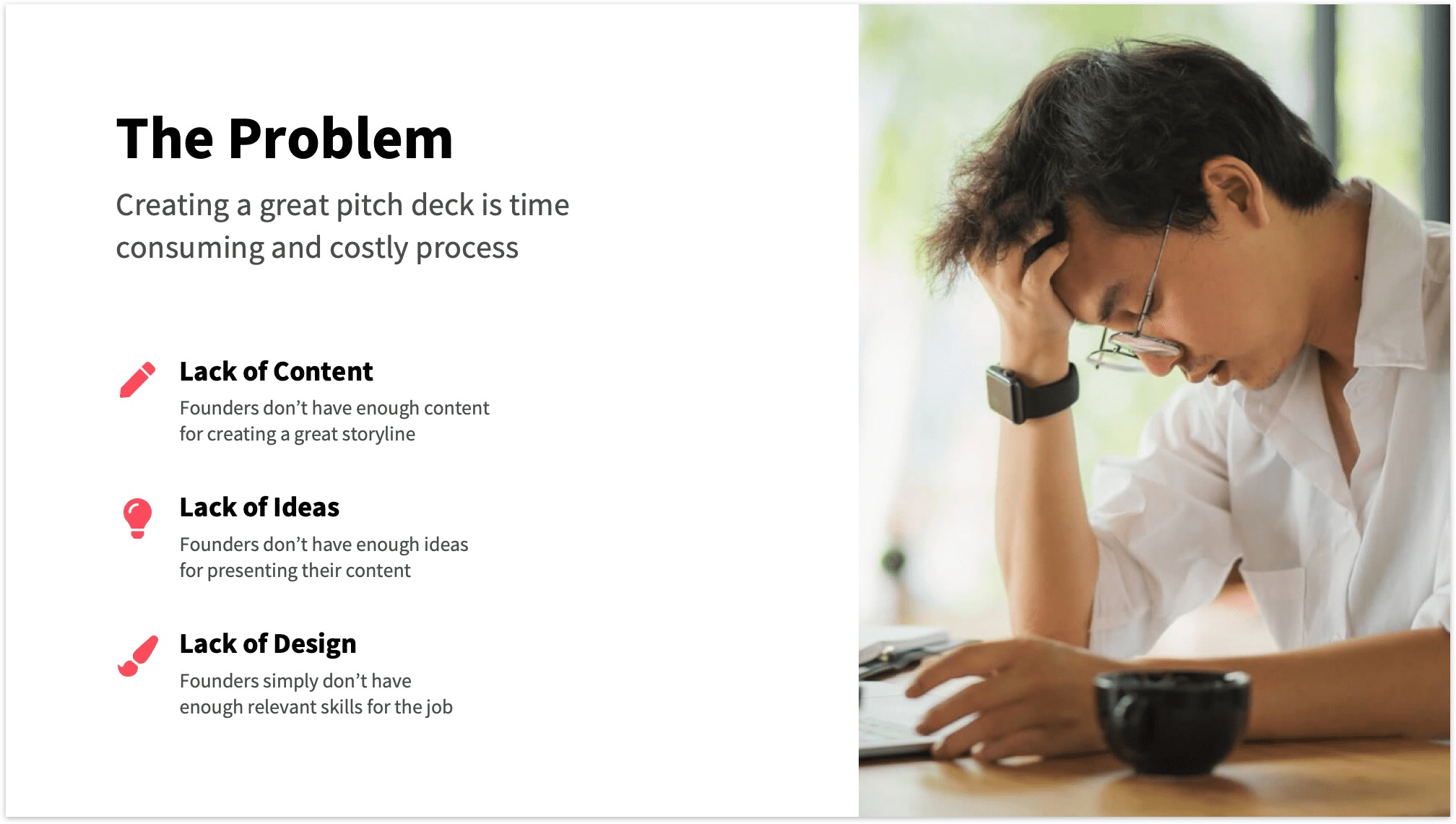 Problem slide with emotional photo and vertical bullet points