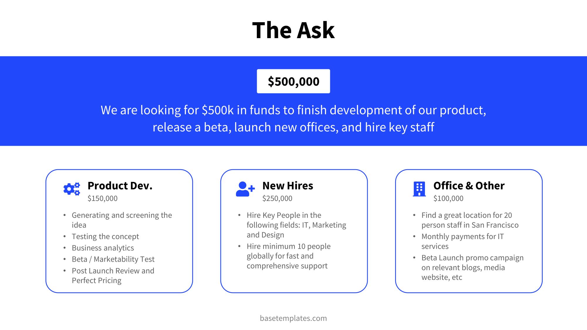 The ask slide in blue clean design