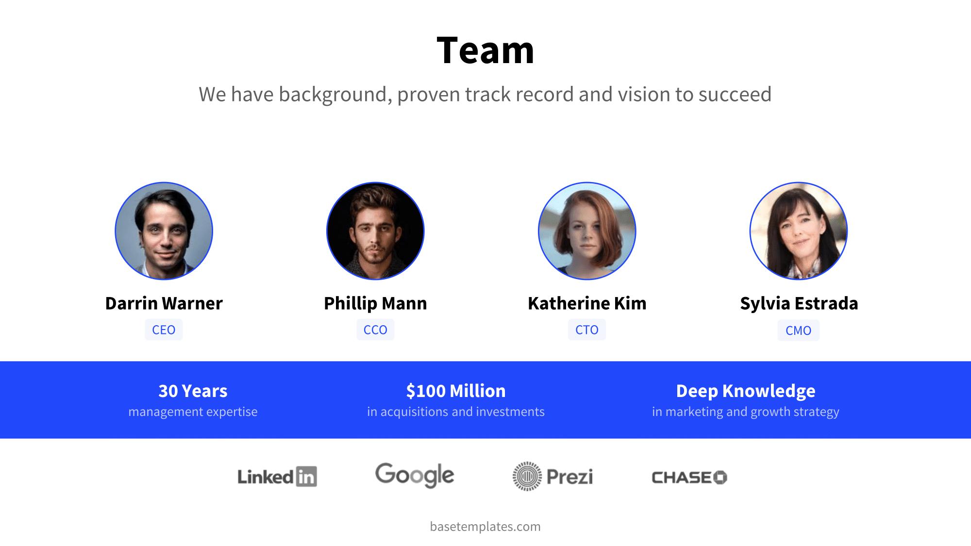 Team slide with c-level management