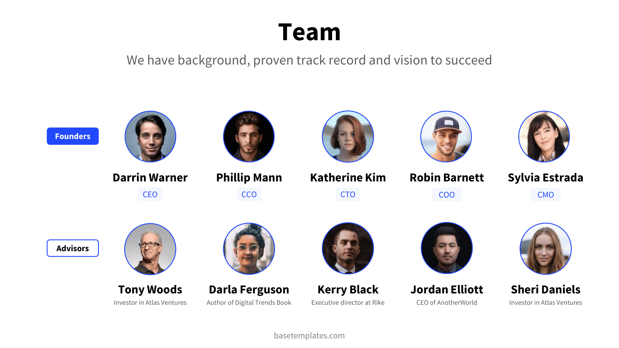 Team slide with headshots and information of founders and advisors