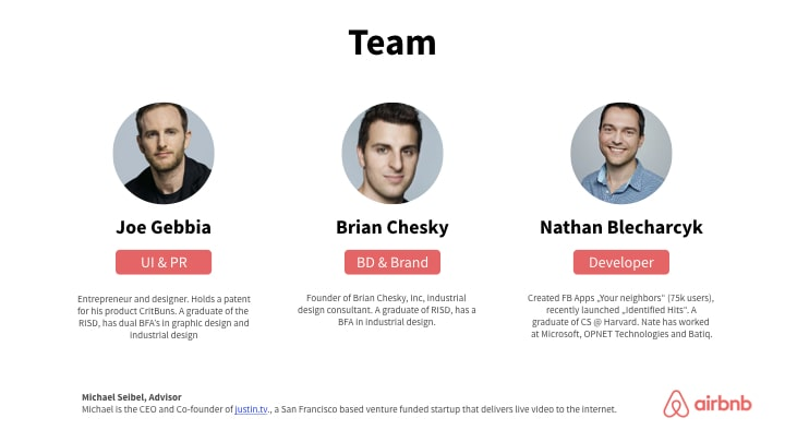 AirBnB Team slide redesign in red corporate colors