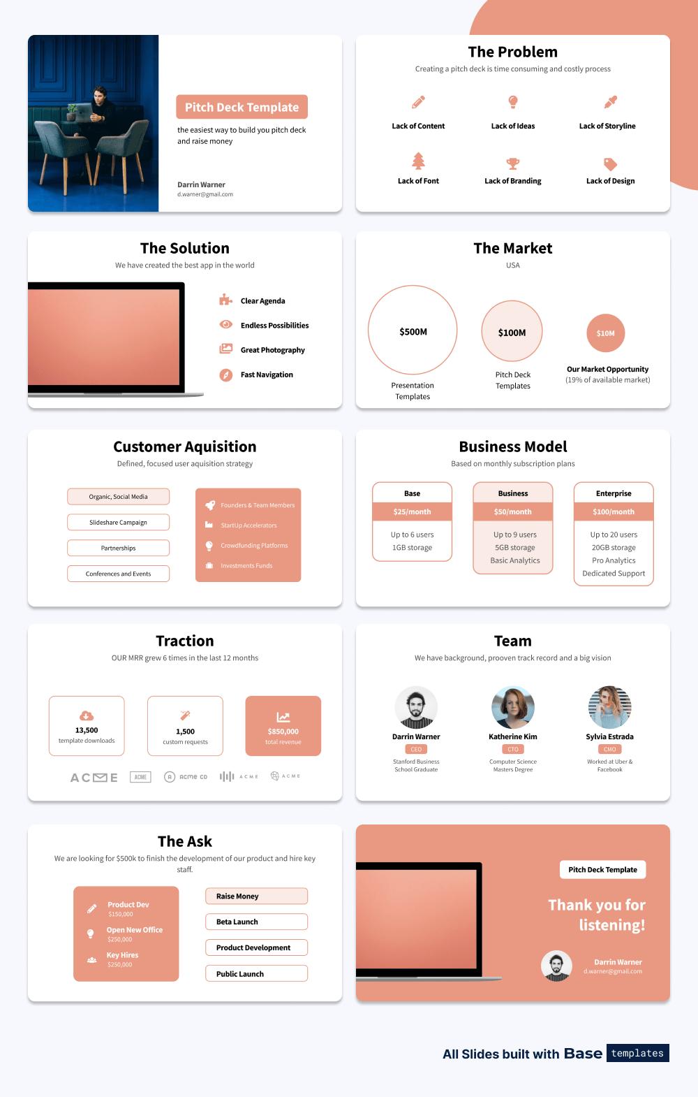 Set of Social Network Pitch Deck Slides