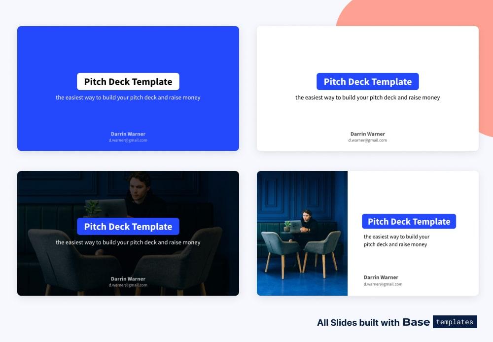 Pitch deck title slide different designs