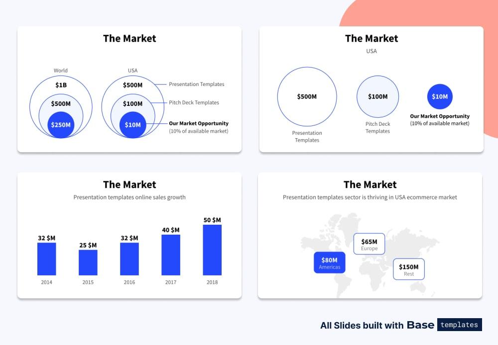 Pitch deck market slide different designs
