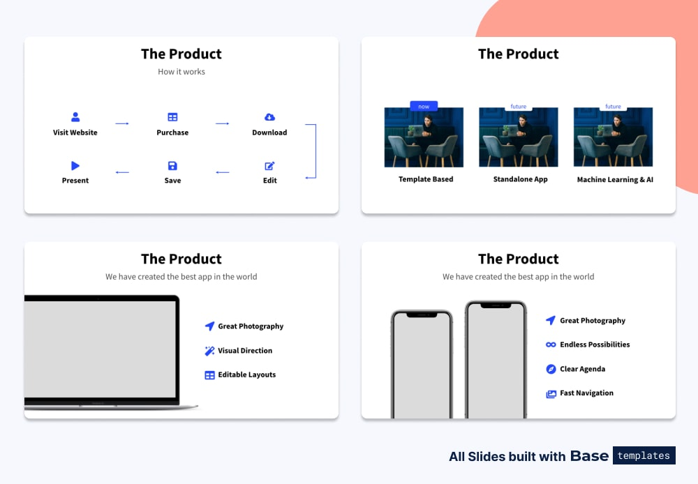 Pitch deck product slide different designs