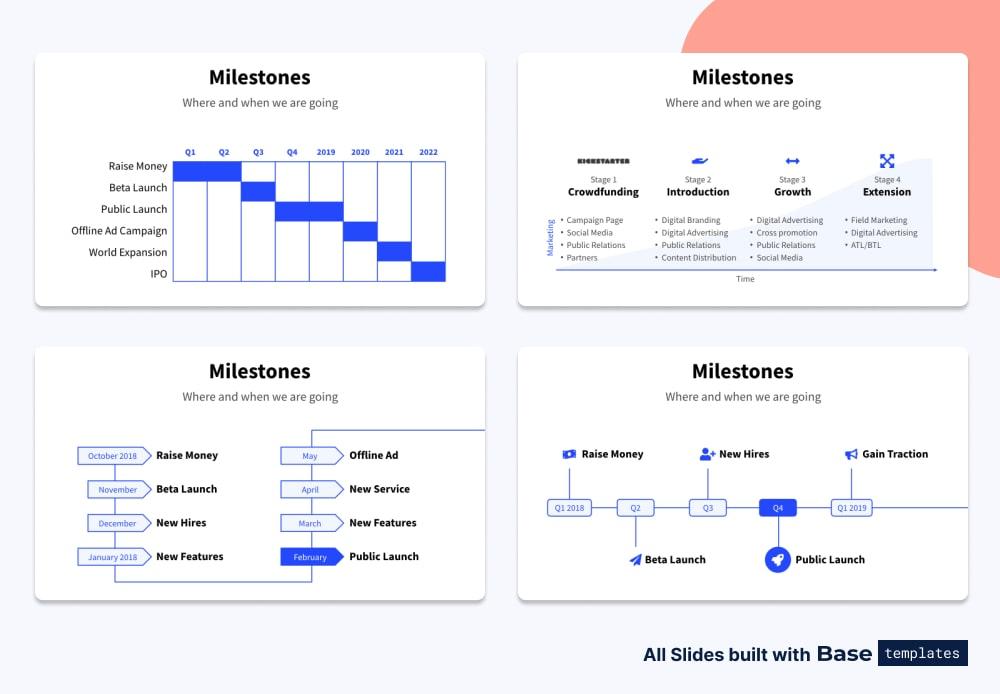 Pitch deck milestones slide different designs