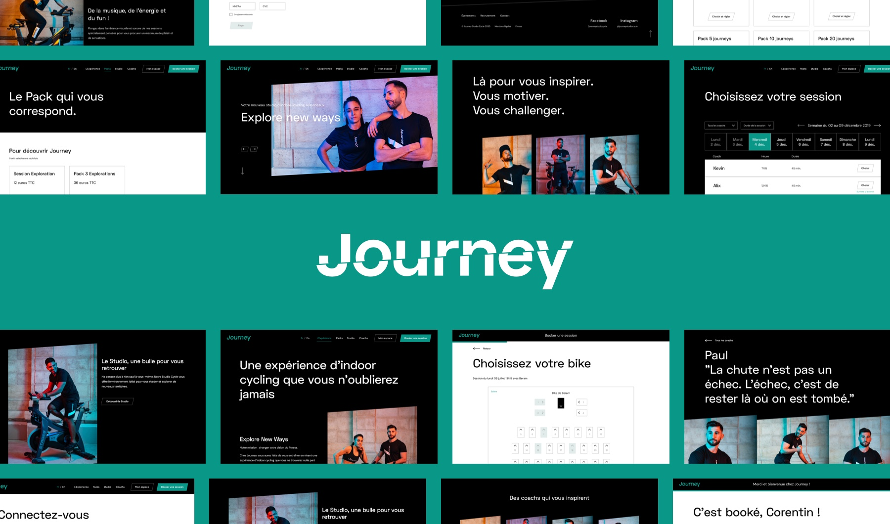 Montage de captures d'écran du site Web de Journey