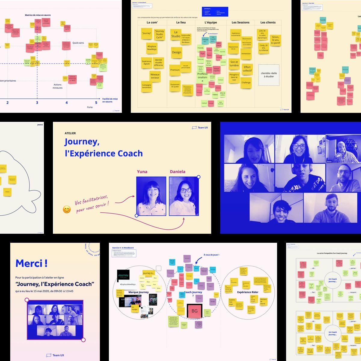 Extraits du travail collaboratif réalisé pendant l'atelier à distance avec les Coachs Journey