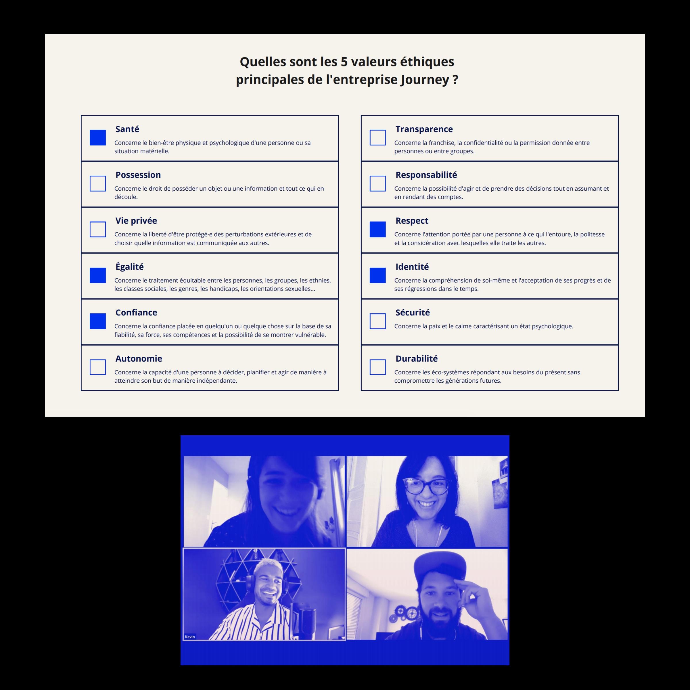 Capture d'écran du tableau de valeurs éthiques