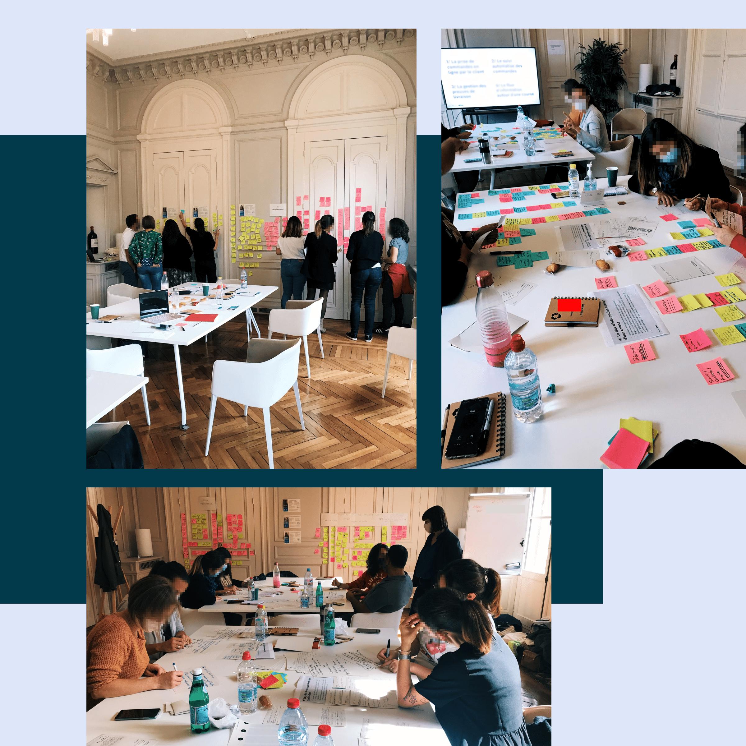 Montage photos de l'atelier d'idéation montrant les participants travailler ensemble