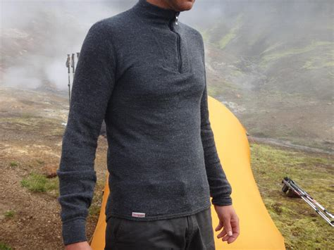 merino woolpower top by tent on camping trip