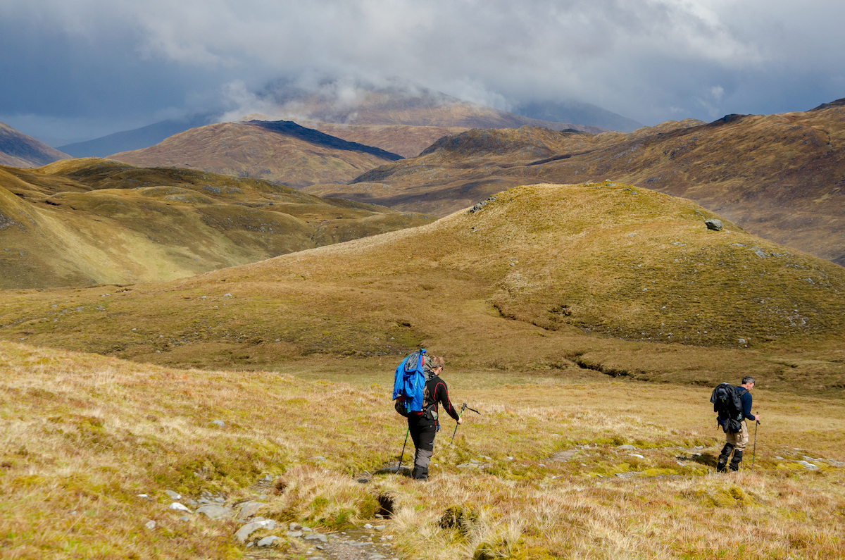 Hikers on mountains on the cape wrath trail