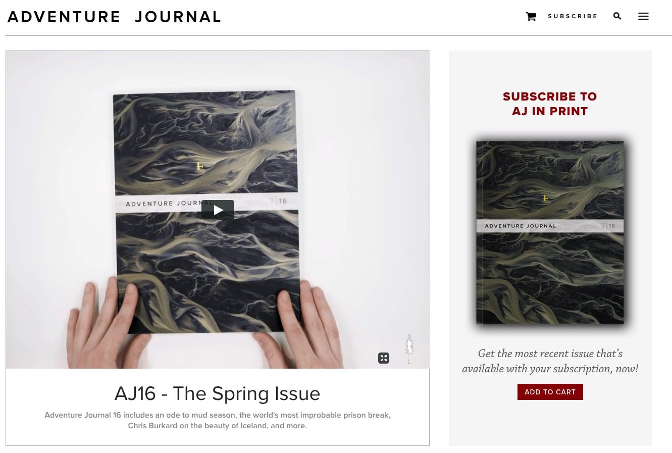 Adventure Journal website