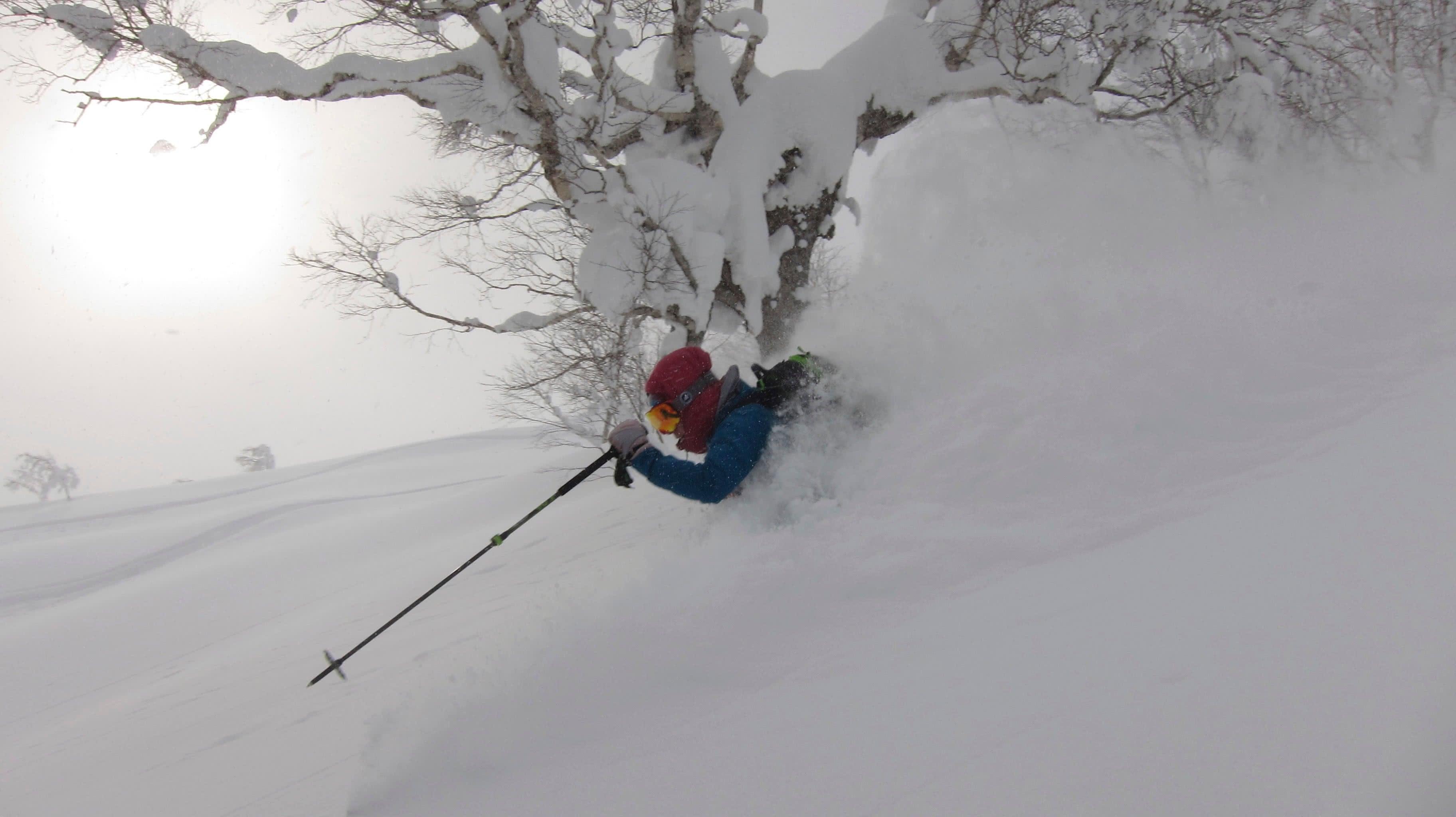Skiing poweder offpiste japan