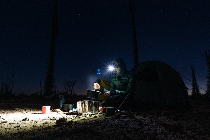 Bikepacking cooking under the stars with MSR