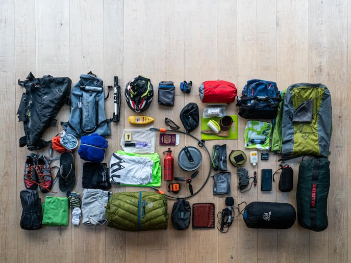 bikepacking and camping equipment