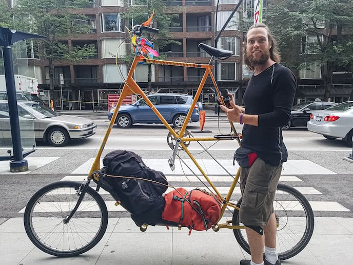 unusual custom road bike for long distance cycle touring