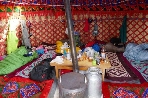 Kyrgyzstan inside a yurt