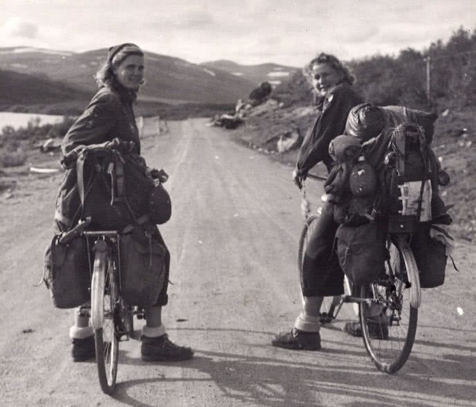 History of bikepacking with two ladies and their bikepacking bags