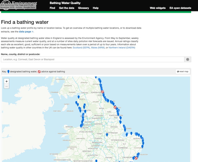 environment agency where to wild swim map