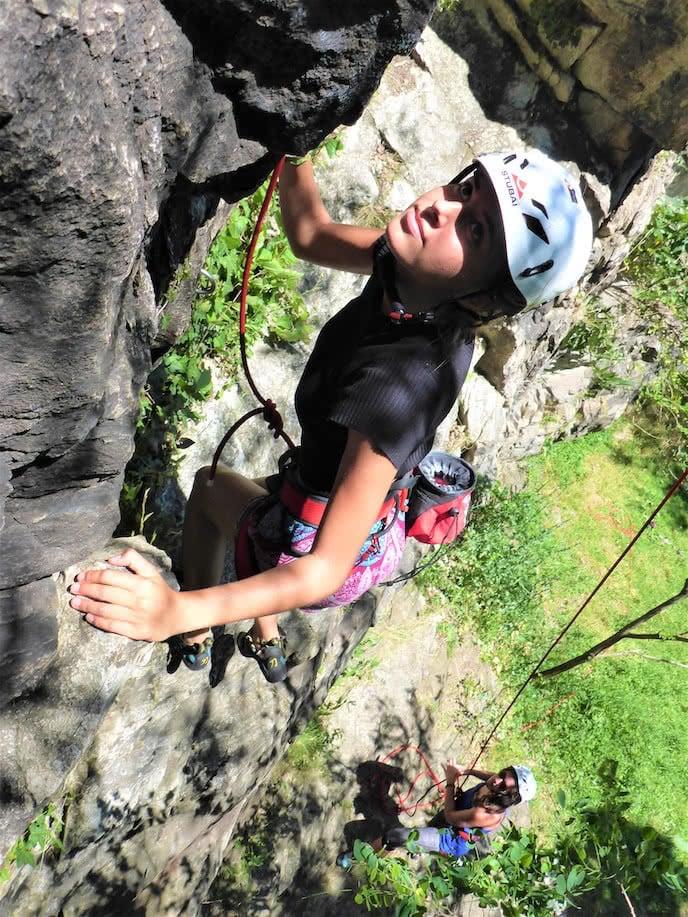 girl rock climbing holiday french pyrenees