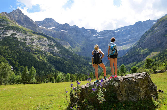 hikers in the Ordesa perdido on waking holiday pyrenees