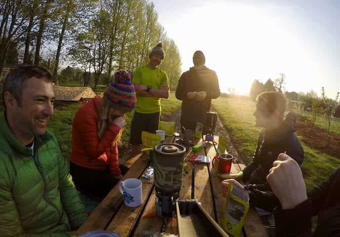 bikepackers enjoying tea on bikepacking weekend uk