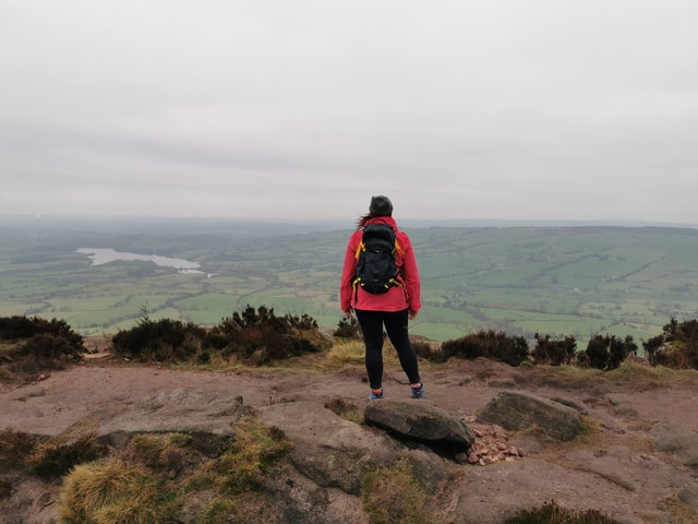 hiker walking british countryside