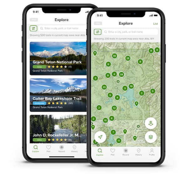 AllTrails best camping apps for hiking biking unning