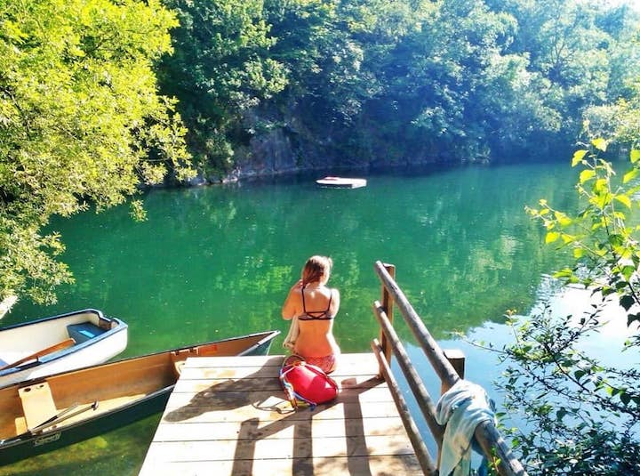 wild swimming lake cornwall with tipi camping
