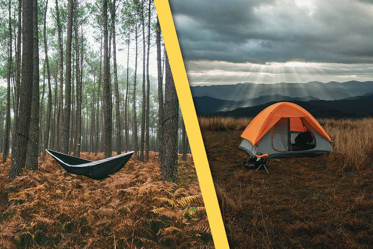 camping in a hammock or camping in a tent