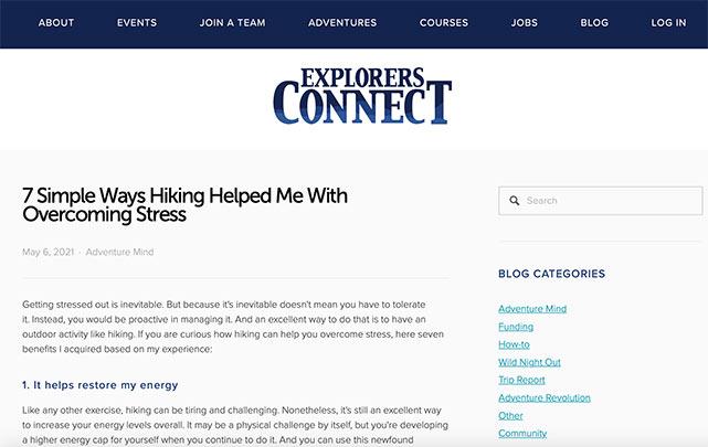 Explorer's connect blog