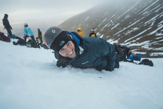 Ice axe self arrest when climbing Ben Nevis