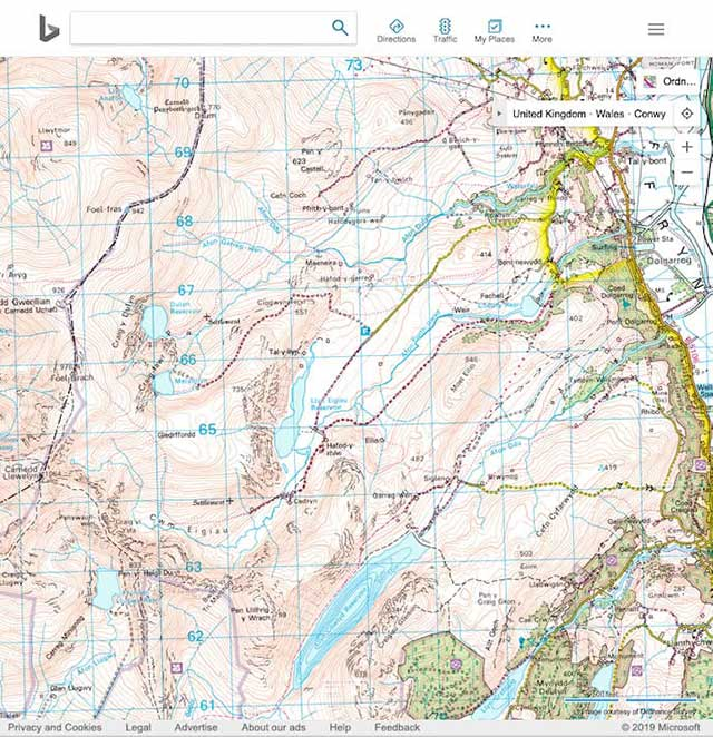 os maps available at bing.com for planning mountain biking / bikepacking routes