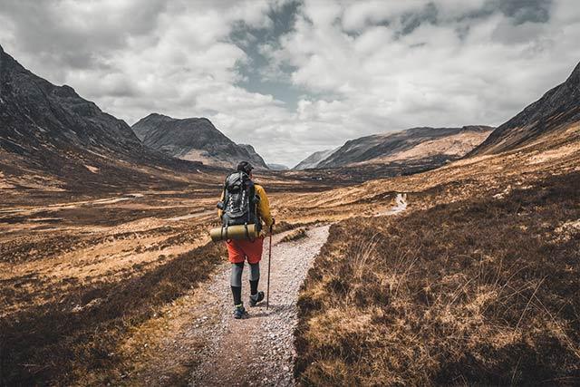 Hiker walks the west highland way path