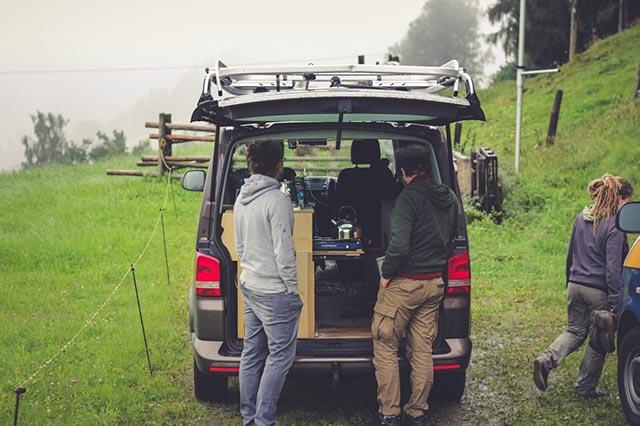 friends van life camping with campervan
