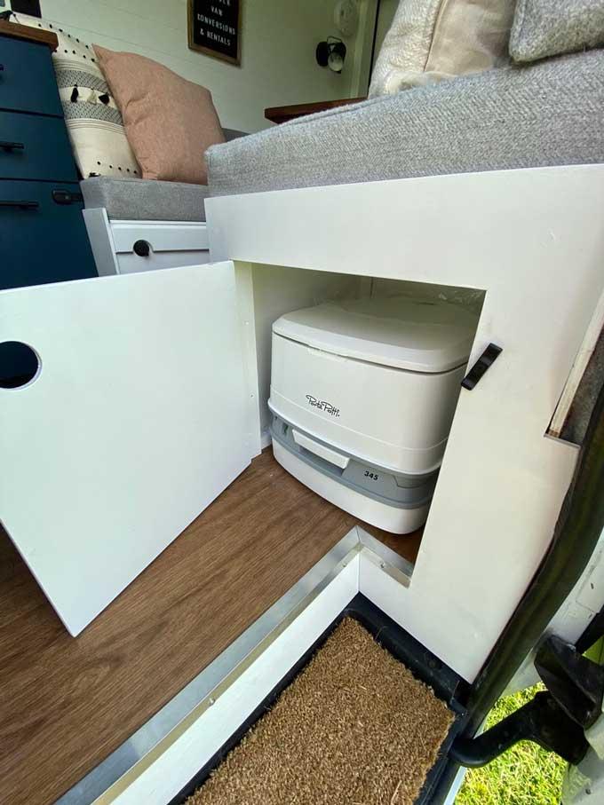 portable toilet campervan conversion under seat storage
