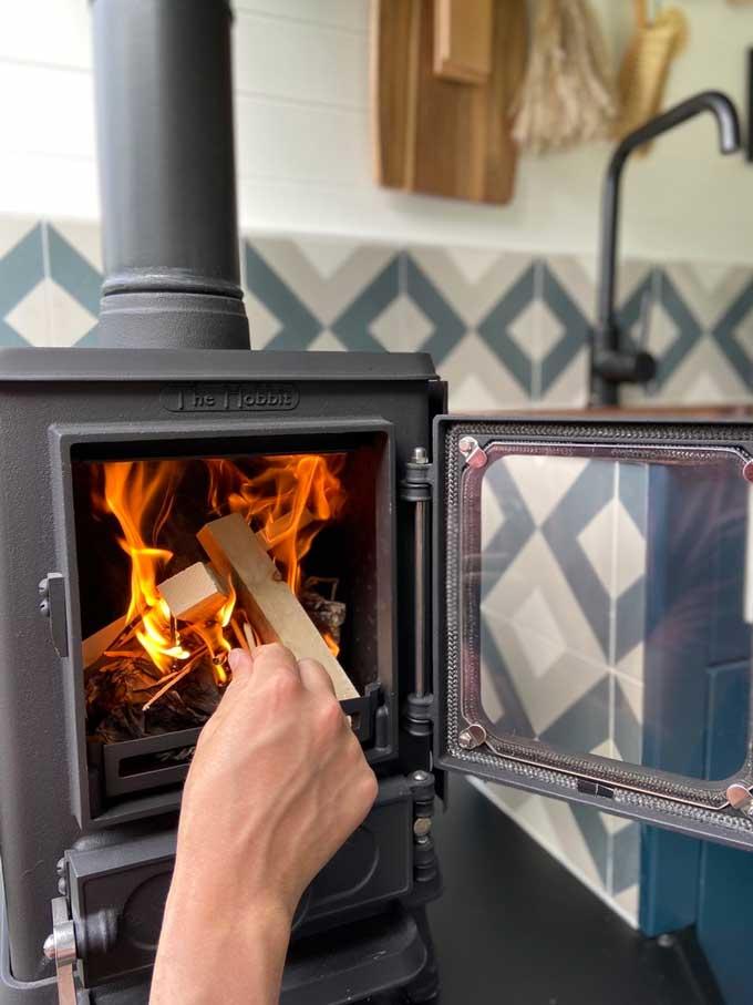 woodburning stove and log store