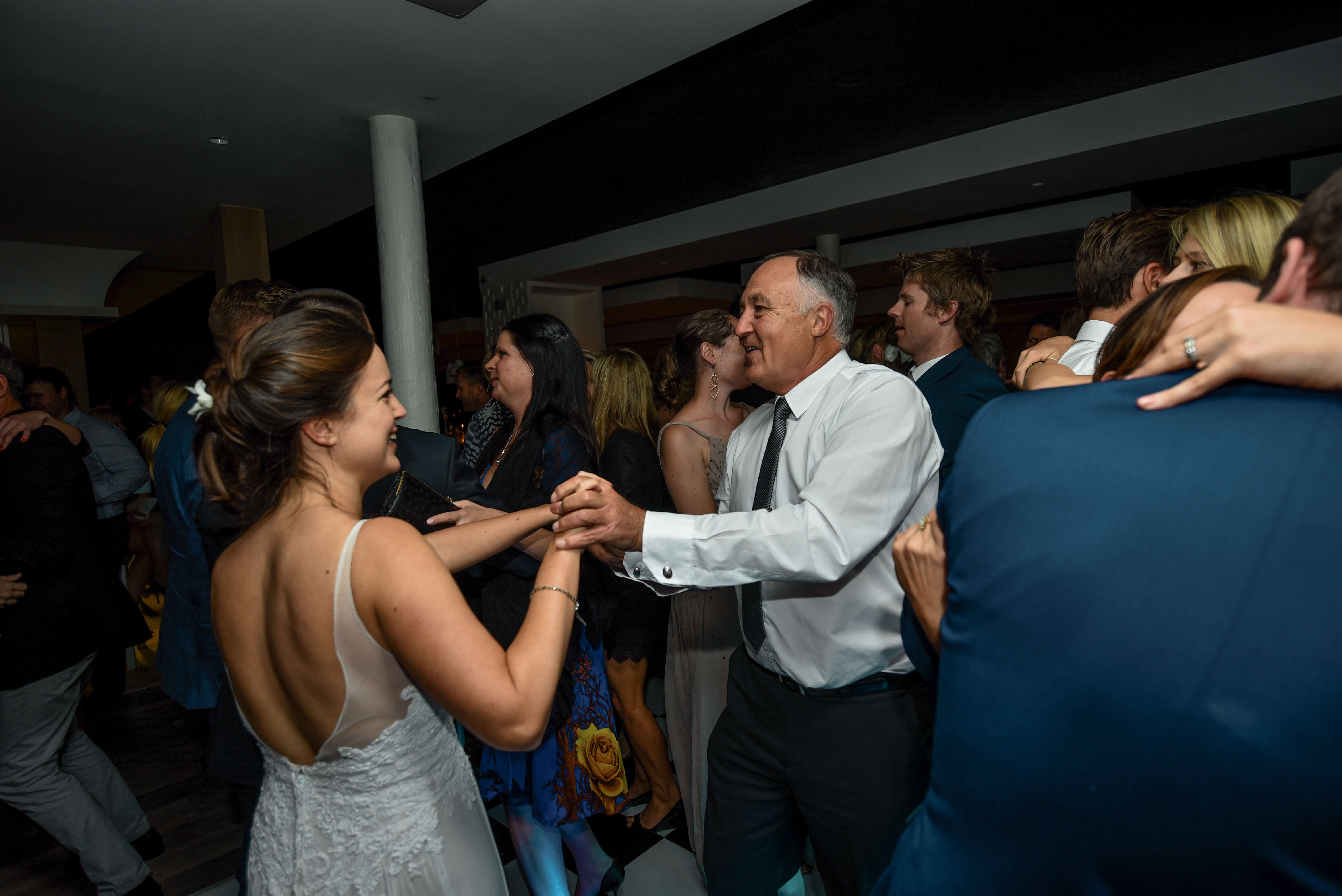 A bride and her father dancing together at her wedding to the best music in South Africa.