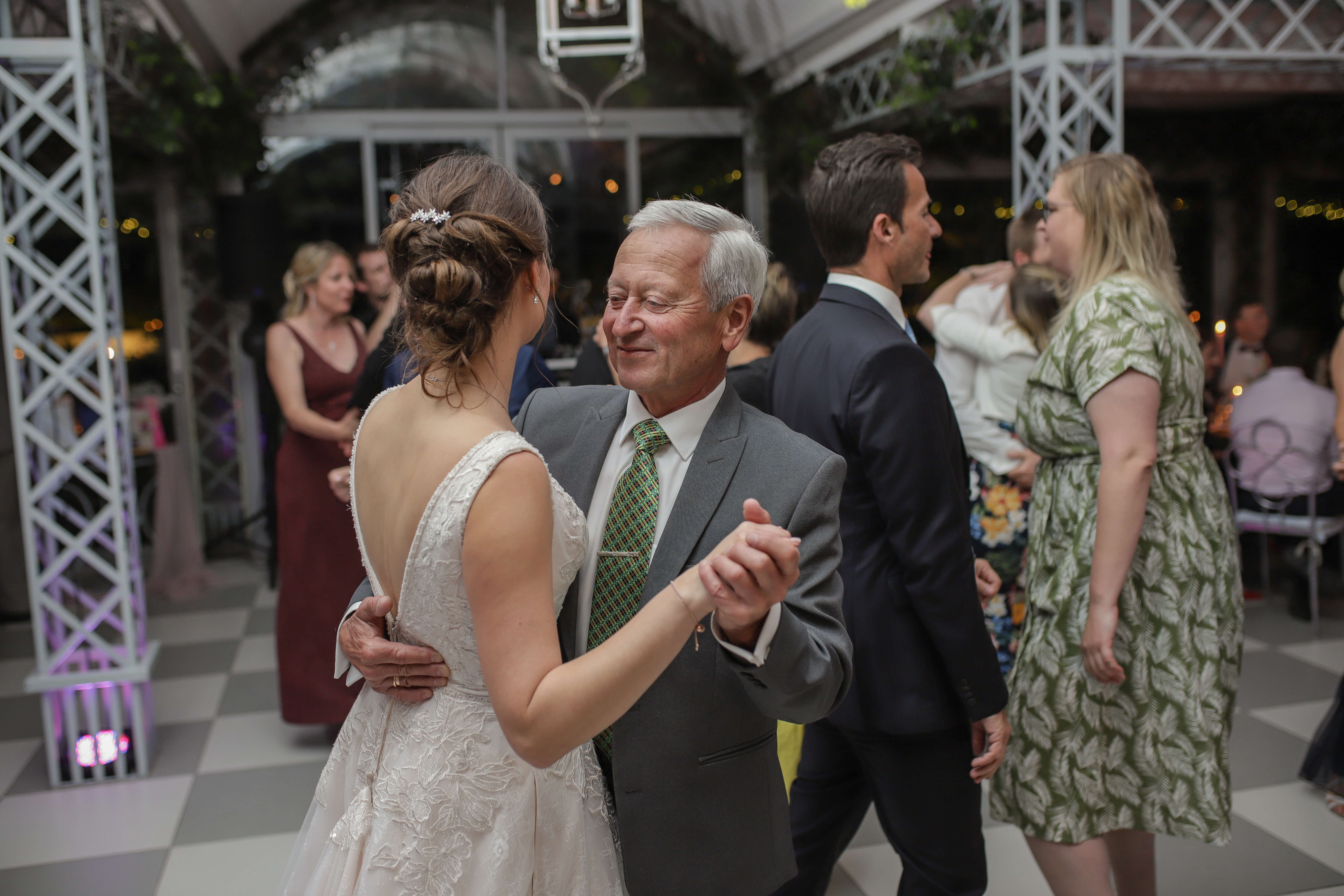 The father daughter dance at a beautiful wine estate wedding in South Africa.