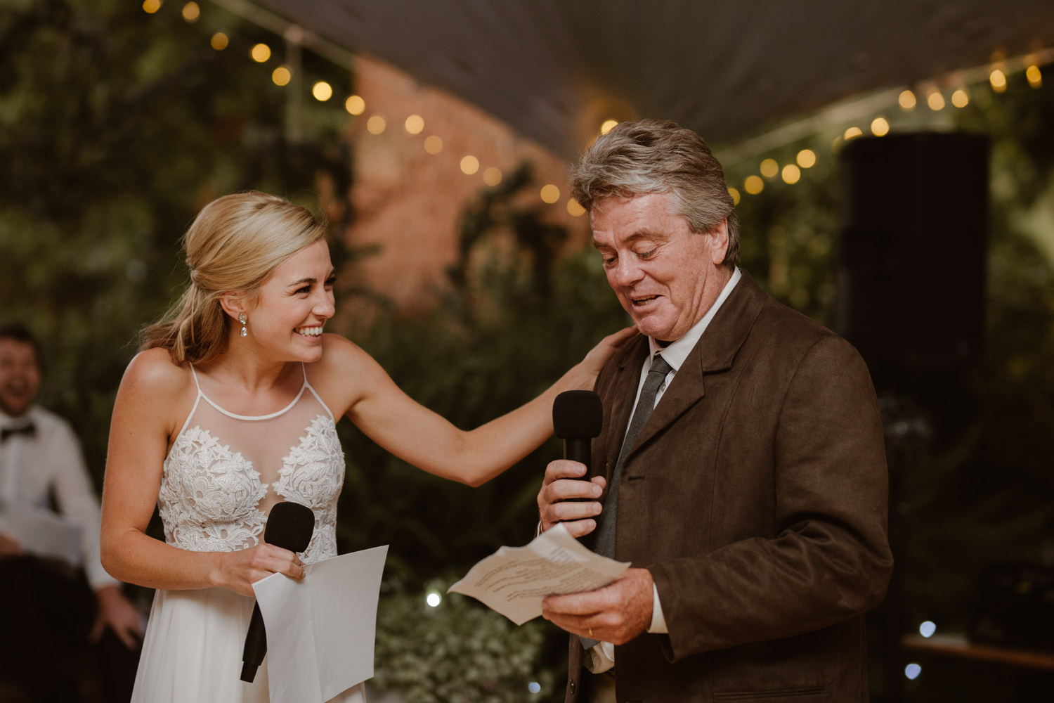 A bride and her father giving a speech at her Constantia Wedding.