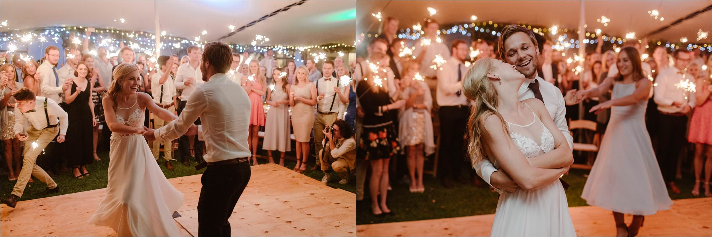 A bride and groom dancing stylishly to the best DJ.