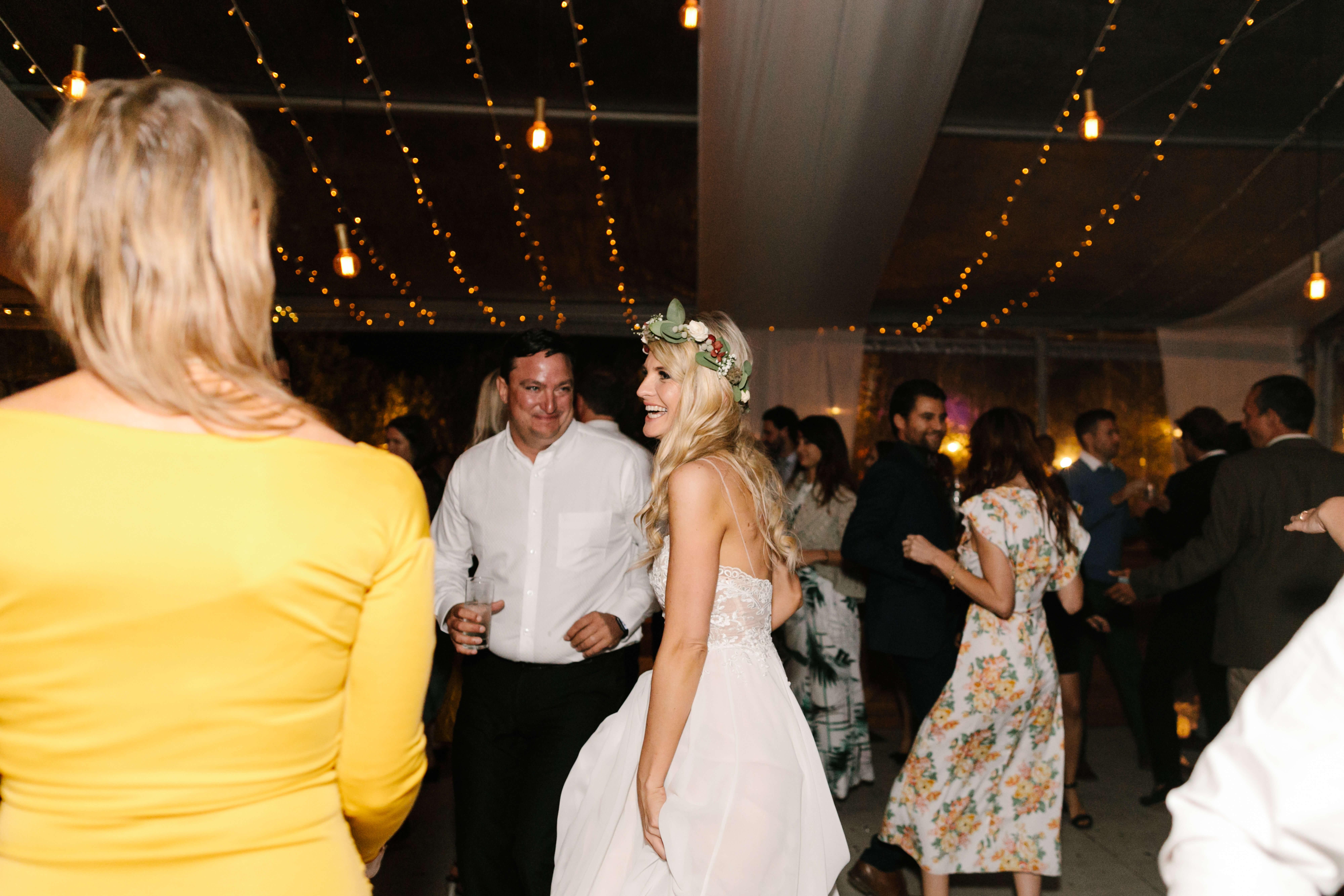 A beautiful bride standing on her wedding dance floor/