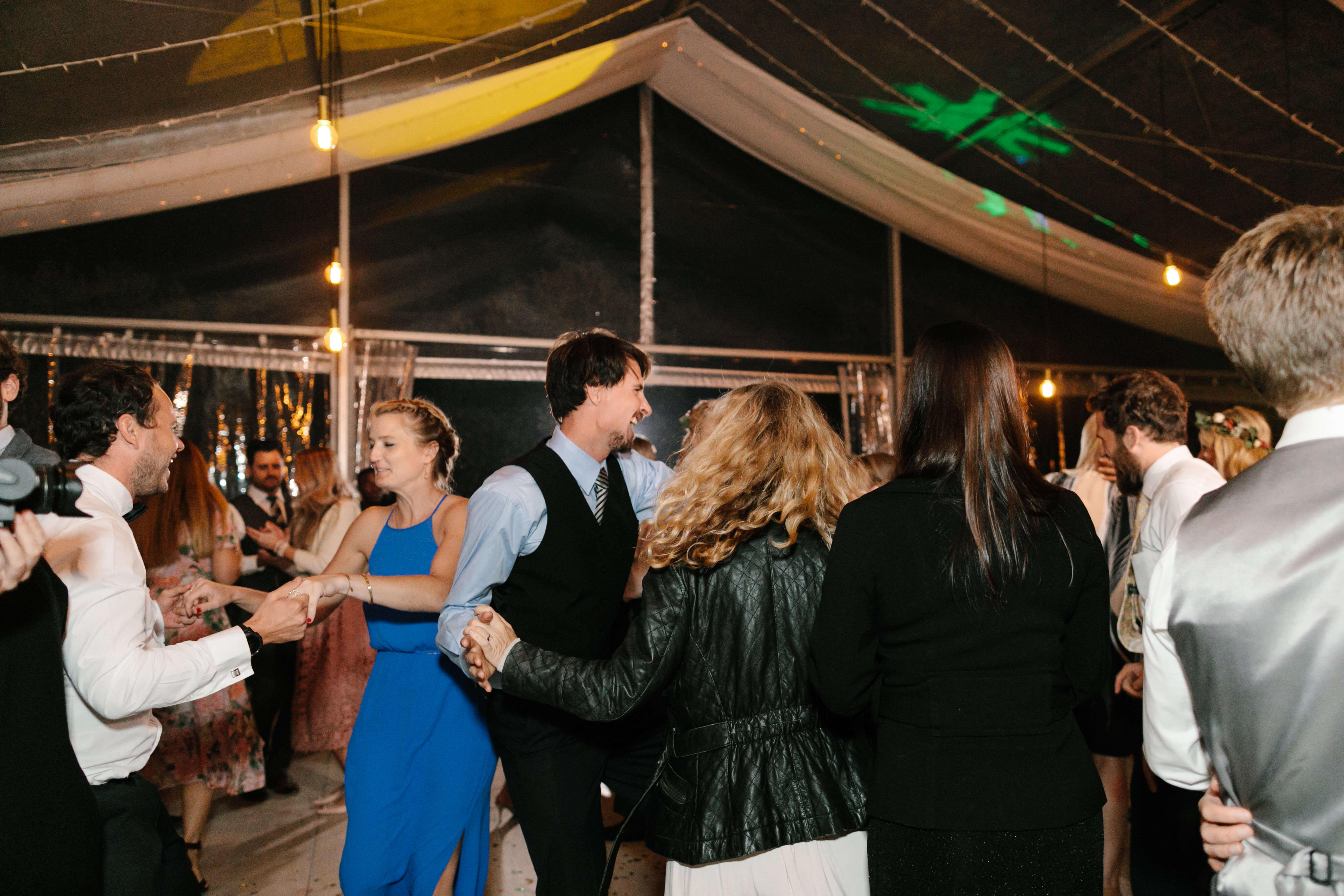 Many people enjoying great music at a Stellenbosch wedding.