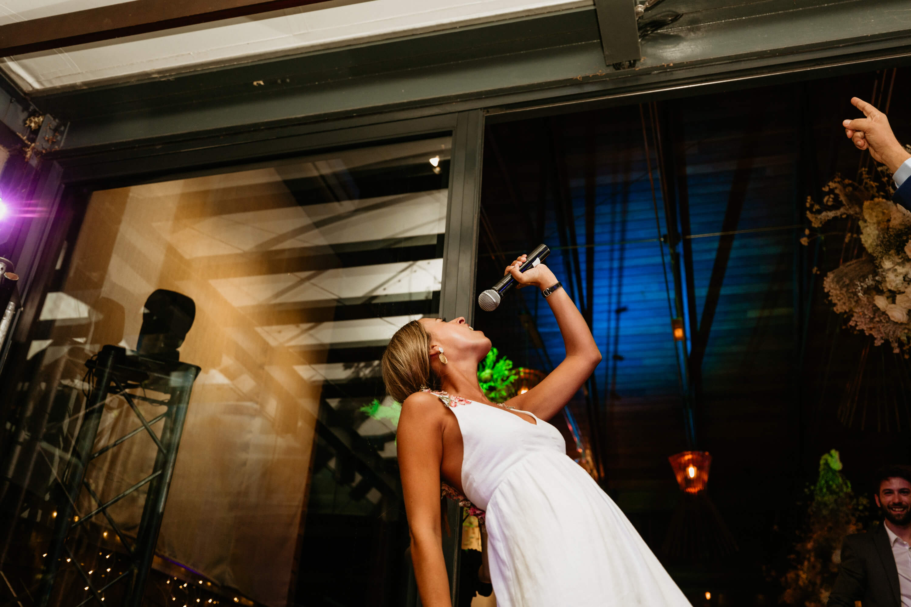 Bride rocking our top of the line microphone.